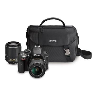 D3300 24.2 MP DSLR with 18-55 VR II and 55-200 VR II Lenses & Case (Refurbished)