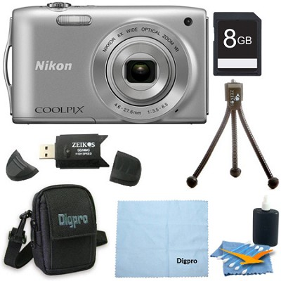 COOLPIX S3300 16MP 6x Opt Zoom 2.7 LCD 8GB Silver Bundle
