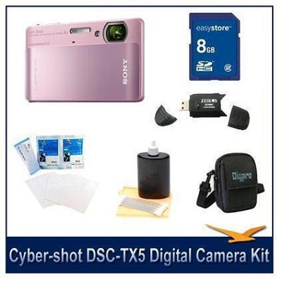 Cyber-shot DSC-TX5 10.2 MP Digital Camera (Pink) with 8GB Card, Case, More