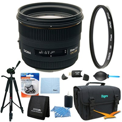 50mm F1.4 EX DG HSM Lens for Nikon DSLR Cameras Lens Kit Bundle