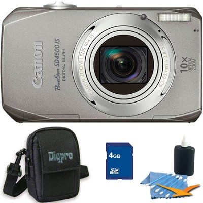 PowerShot SD4500 IS Silver Bundle w/ 4GB Memory, Case, Cleaning Kit