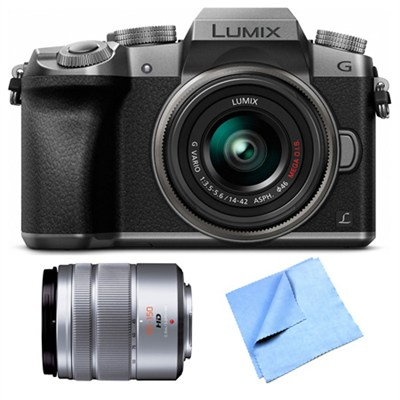 LUMIX G7 Interchangeable Lens Silver DSLM Camera 14-42mm and 45-150 Lens Bundle
