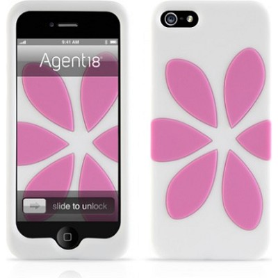 FlowerVest Silicone Case for iPhone 5 - Pink/White
