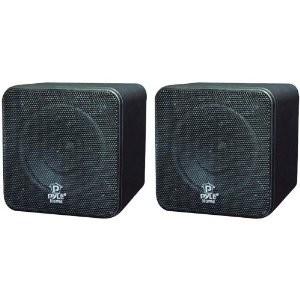 PCB4BK 4-Inch 200-Watt Mini Cube Bookshelf Speaker (Black) (Pair)