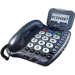Ampli455 Amplified Talking Telephone with Amplified Answering Machine, Gray/Blue