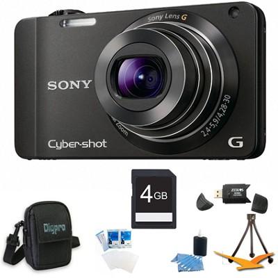 Cyber-shot DSC-WX10 Black Digital Camera 4GB Bundle