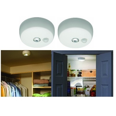 MB 980 Battery-Operated Indoor/Outdoor Motion-Sensing LED Ceiling Light 2-Pack