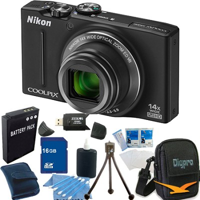 COOLPIX S8200 Black 14x Zoom 16MP Digital Camera 16GB Bundle