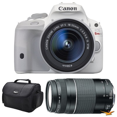 EOS Rebel SL1 Digital SLR EF-S 18-55mm and 75-300mm White Bundle