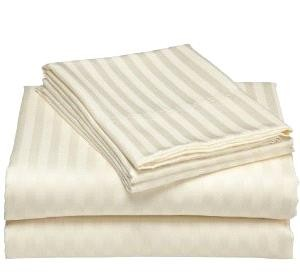 Luxurious 400 Thread Count Woven Cotton Sateen Sheet Set - Ivory (Queen)