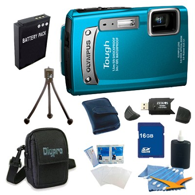16GB Kit Tough TG-320 14MP Waterproof Shockproof Freezeproof Digital Camera - Bl