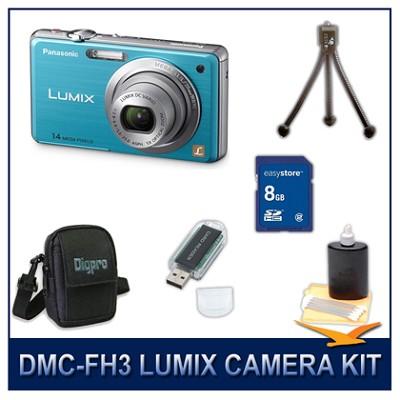 DMC-FH3A LUMIX 14.1 MP Digital Camera (Blue), 8GB SD Card, and Camera Case