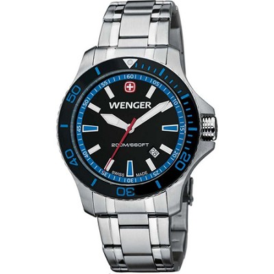 Men's Sea Force Swiss Watch - Black and Blue Dial/Stainless Steel Bracelet