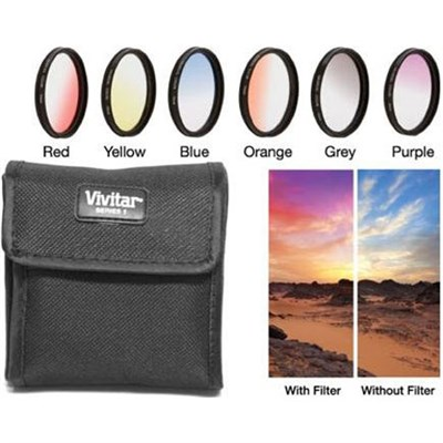 58mm Graduated Color Multicoated Six Piece Filter Set with Fold Up Filter Case