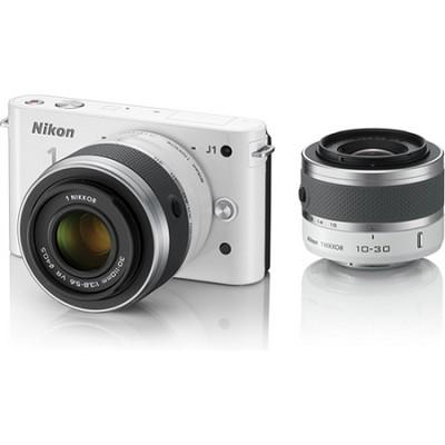1 J1 SLR White Digital Camera w/ 10-30mm & 30-110mm  Lenses Factory Refurbished