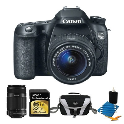 EOS 70D Digital SLR Camera and EF-S 18-55mm Lens and EF-S 55-250mm STM Bundle