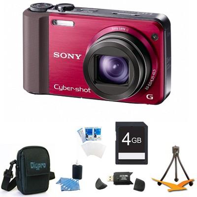 Cyber-shot DSC-HX7V Red Digital Camera 4GB Bundle