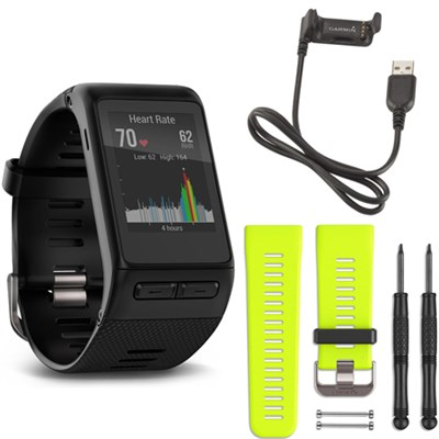 vivoactive HR GPS Smartwatch X-Large Fit (Black) Force Yellow Band Deluxe Bundle