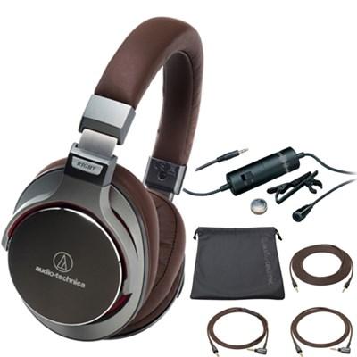 SonicPro Over-Ear High-Res.  Audio Headphones - Gun Metal Grey with Microphone