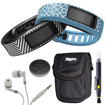 Vivofit 2 Fitness Band Style Collection Black/Cyan - EFIGS Packaging Bundle