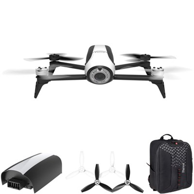 Bebop 2 Quadcopter Drone with HD 14MP Flight Camera (White) Mobile Command Kit