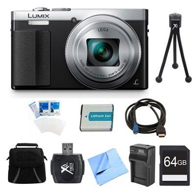 LUMIX ZS50 30X Travel Zoom Silver Digital Camera 64GB Bundle