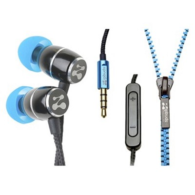 FRESH Noise-Isolating Metal Earbuds with 3-Button Mic/Remote (Blue)