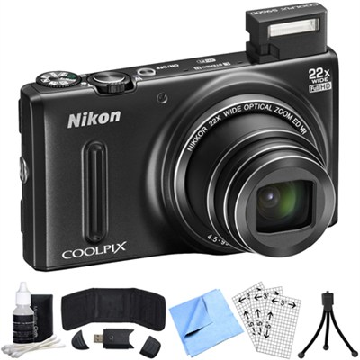 COOLPIX S9600 16MP Digital Camera w/ 22x Opt. Zoom (Black) Refurbished Bundle