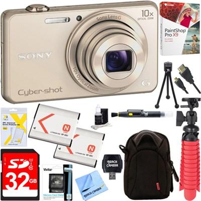 DSC-WX220 Compact Digital Camera (Gold) + 32GB Dual Battery & Accessory Bundle