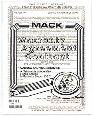 4 Year Extended Warranty Certificate For Video up $3000 {1056}