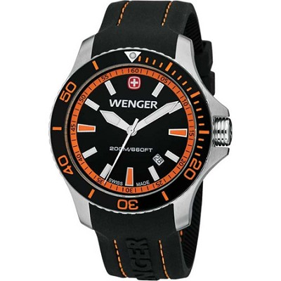 Men's Sea Force Swiss Watch - Black and Orange Dial/Black Silicone Strap