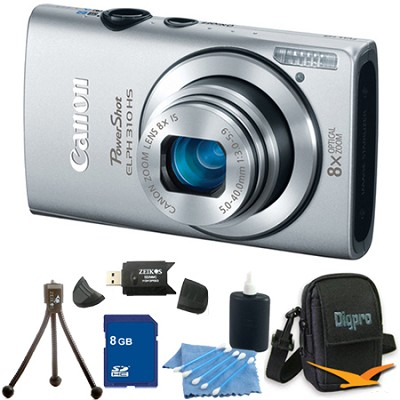 PowerShot ELPH 310 HS 12MP Silver Digital Camera 8GB Bundle