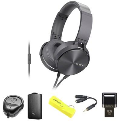 Full-Size Silver Headphones w/ Extra Bass - MDRXB950AP/H w/ FiiO A3 Amp. Bundle