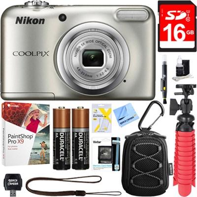 COOLPIX A10 16.1MP Digital Camera (Silver) + 16GB Deluxe Accessory Bundle