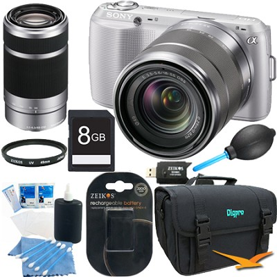 Alpha NEX-C3 Digital SLR Silver w/ 18-55mm, 55-210mm Bundle