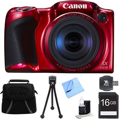 Powershot SX410 IS Red Digital Camera and 16GB Card Bundle