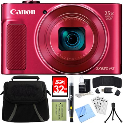 PowerShot SX620 HS 20.2MP Digital Camera Red w/ 32GB Card Accessory Bundle