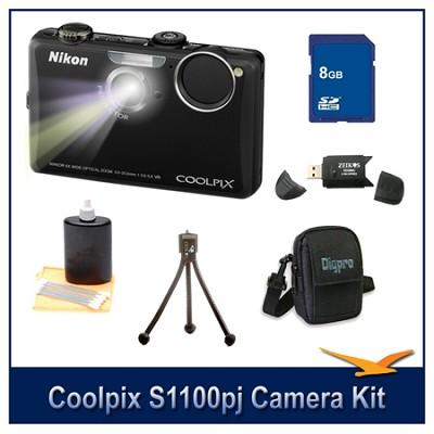 COOLPIX S1100pj Black Digital Camera Kit w/ 8 GB Memory, Reader, Tripod, & More