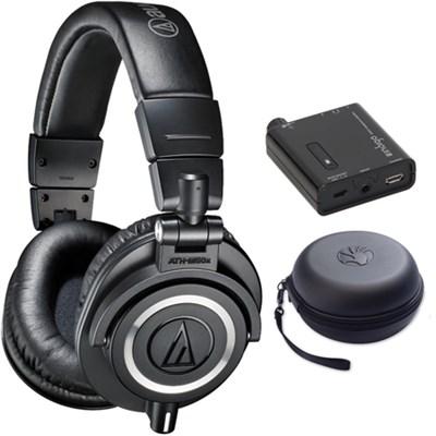 ATH-M50X Studio Monitor Headphone w/ Slappa Case + Amp Bundle