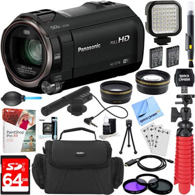 HC-V770K HD Camcorder with Mini Zoom Microphone + 64GB Accessory Bundle
