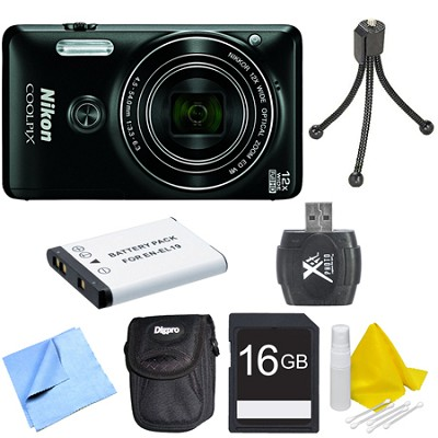 COOLPIX S6900 16MP Full HD 1080p Digital Camera - Black Deluxe Bundle