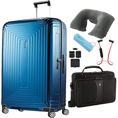 30` Neopulse Hardside Spinner in Metallic Blue - Ultimate Travel Bundle