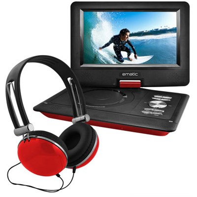 10` Portable Swivel Screen DVD Player w/ Headphones, Car Mount - Red