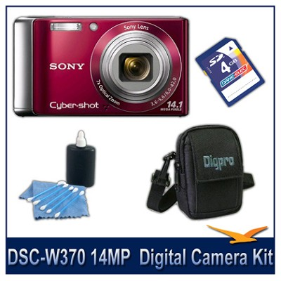 Cyber-shot DSC-W370 14MP Red Digital Camera   with 4GB Card, Case, and More