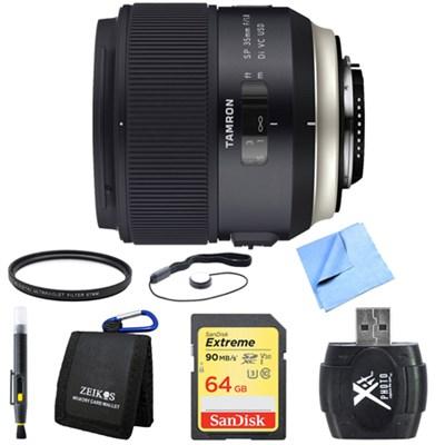 SP 35mm f/1.8 Di VC USD Lens for Canon EOS Mount 64GB SDXC Card Bundle