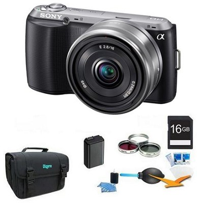 Alpha NEX-C3 Interchangeable Lens Black Camera w/ 16mm Lens ULTIMATE BUNDLE