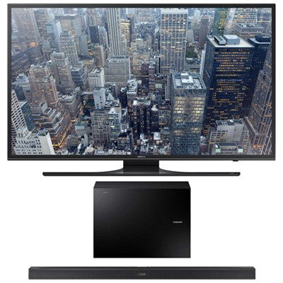 UN60JU6500 - 60-Inch 4K UHD Smart LED HDTV w/ HW-J550 Wireless Soundbar Bundle