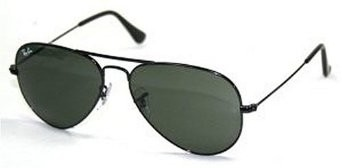 Aviator Large Metal Sunglasses Black 55mm - OPEN BOX