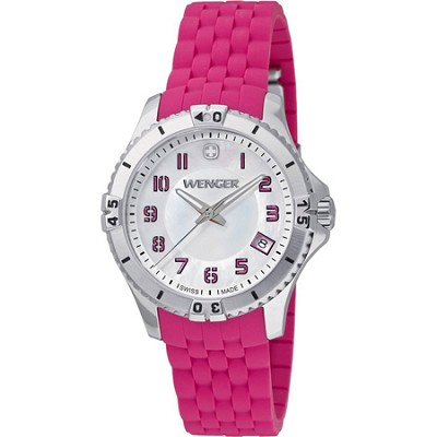 Ladies' Squadron Analog Watch - White Dial/Pink Silicone Rubber Strap