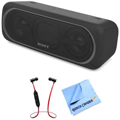 XB40 Portable Wireless Bluetooth Speaker Black with Headphones Bundle